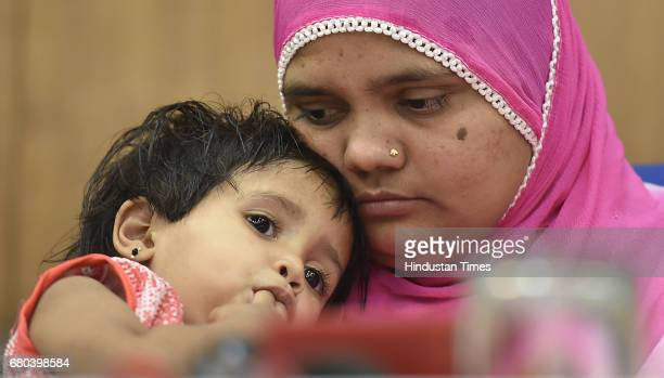 Bilkis Bano a gangrape survivor from the 2002 Gujarat riots along with her daughter during the press conference after 15 years Justice at Press club...