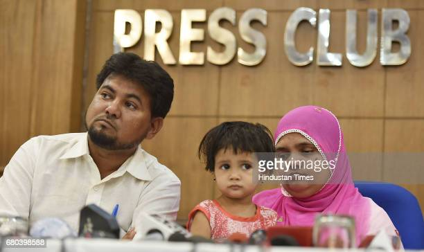 Bilkis Bano a gangrape survivor from the 2002 Gujarat riots along with her daughter and husband Yakub Rasool during the press conference after 15...