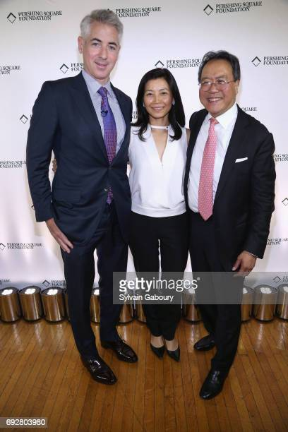 Bill Ackman Tracey Palandjian and YoYo Ma attend The Pershing Square Foundation 10th Anniversary Celebration at Park Avenue Armory on June 5 2017 in...