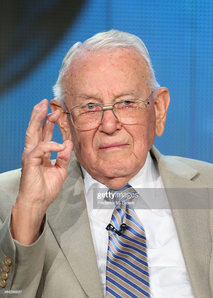 Bill Allen, World War II veteran, speaks onstage during the 'NOVA/'D-Day's Sunken Sectrets' ' panel discussion at the PBS portion of the 2014 Winter Television Critics Association tour at Langham Hotel on January 21, 2014 in Pasadena, California.