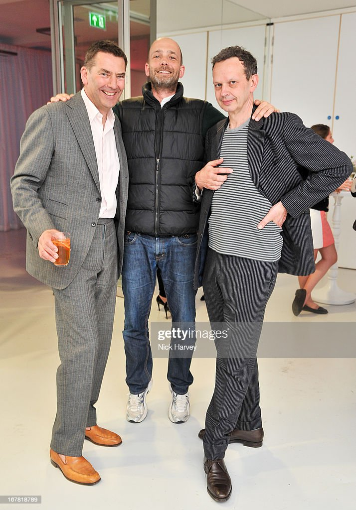 Bill Amberg, Max Wigram and Tom Dixon attend the opening of the Conde Nast College of Fashion and Design on April 30, 2013 in London, England.