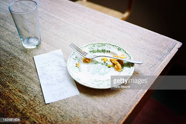 bill and empty plate on table in cafe