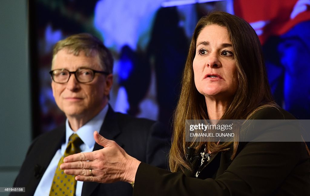 Bill and Melinda Gates founders of the Bill and Melinda Gates Foundation take part in a discussion organised by British magazine The Economist about...