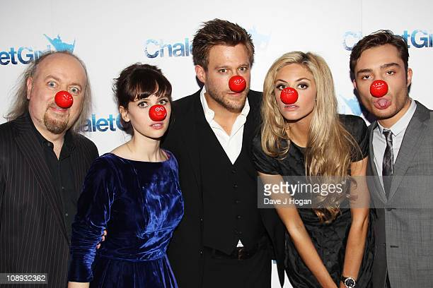 Bill Bailey Felicity Jones Ken Duken Tamsin Egerton and Ed Westwick from the cast of Chalet Girl participates in Red Nose Day part of Comic Relief at...