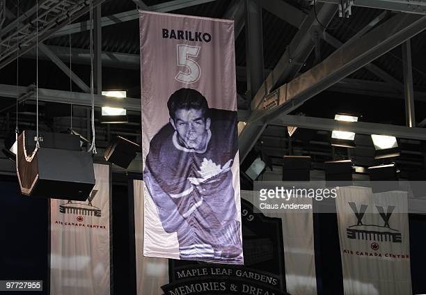 Bill Barilko's banner hangs in the ceiling of the Air Canada Centre during the Toronto Maple Leafs game against the Edmonton Oilers on March 13 2010...