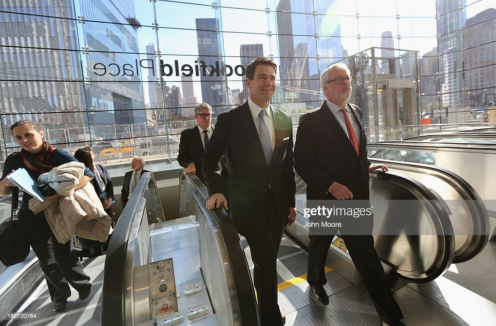 Bill Baroni, Port Authority Deputy Executive Director (L), and Patrick Foye, Port Authority Executive Director emerge into the Brookfield Place Pavilion from the new World Trade Center West Concourse pedestrian transit connection on October 24, 2013 in New York City. The underground corridor links the World Trade Center PATH Station on the east end of the concourse to Brookfield Place Pavilion (formerly the World Financial Center), and the Battery Park City Ferry Terminal on the west end of the concourse. The 600-foot long marble corridor, designed by Spanish architect Santiago Calatrava and built by the Port Authority, is the first part of the World Trade Center Transportation Hub to open to the public.