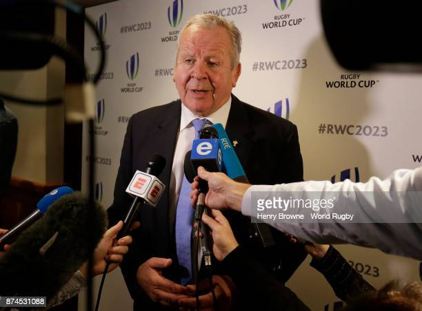 Bill Beaumont of World Rugby during the Rugby World Cup 2023 host decision announcement at Royal Garden Hotel on November 15 2017 in London England