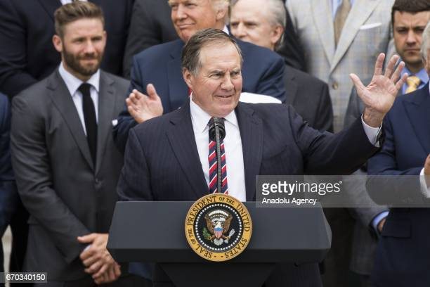Bill Belichick head coach of the 2017 Super Bowl Champions the New England Patriots speaks during a ceremony with President Donald Trump at the White...