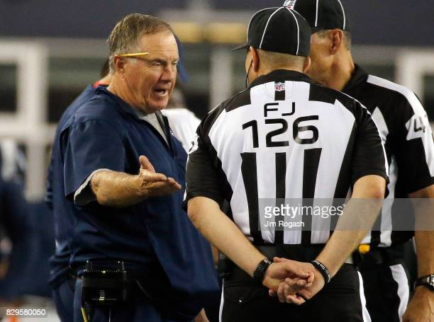 Bill Belichick of the New England Patriots has words with officials during a preseason game with the Jacksonville Jaguars at Gillette Stadium on...