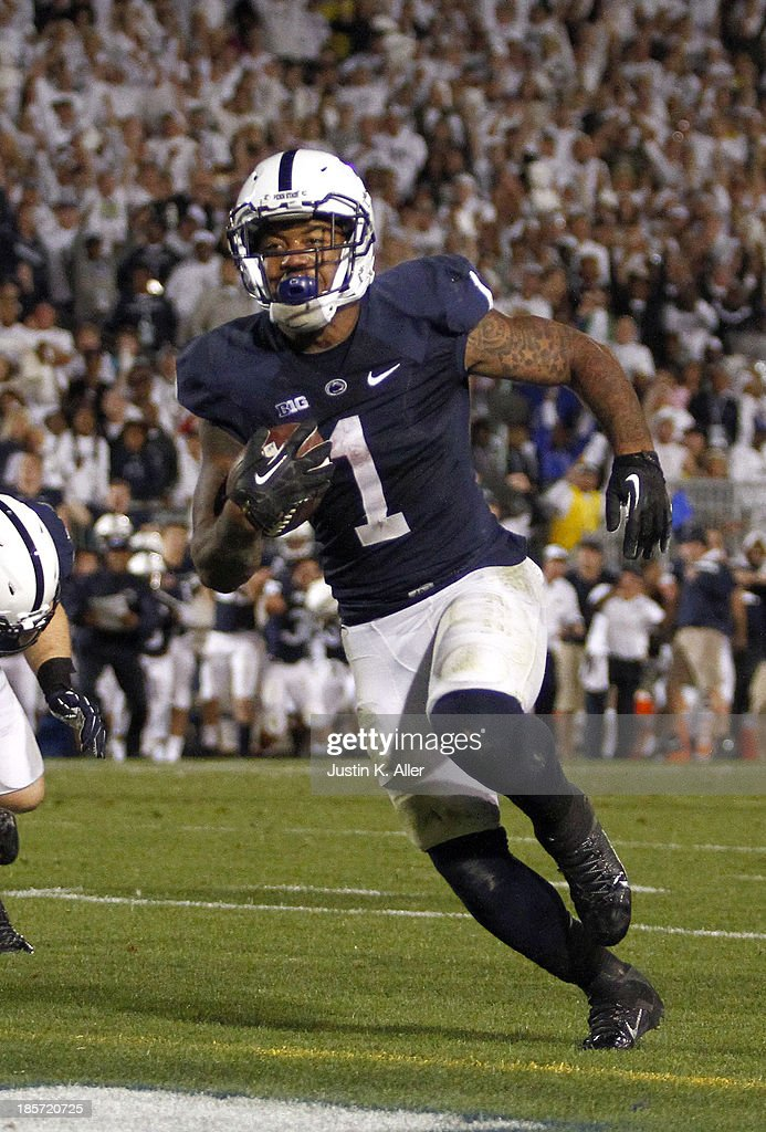 Bill Belton #1 of the Penn State Nittany Lions plays against the Michigan Wolverines during the game on October 12, 2013 at Beaver Stadium in State College, Pennsylvania.