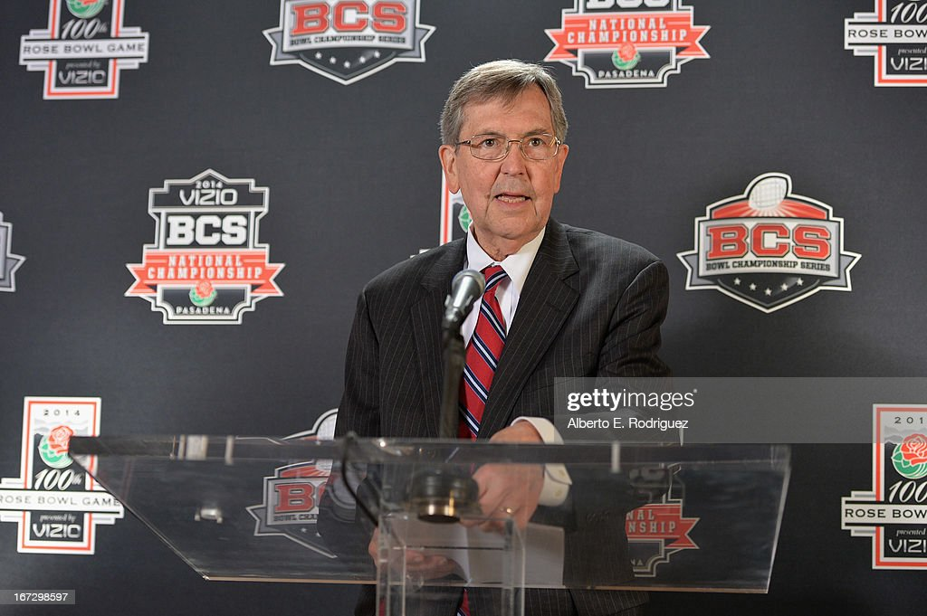 Bill Bogaard, Mayor of Pasadena attends the 100th Rose Bowl Game press conference at Rose Bowl on April 23, 2013 in Pasadena, California.