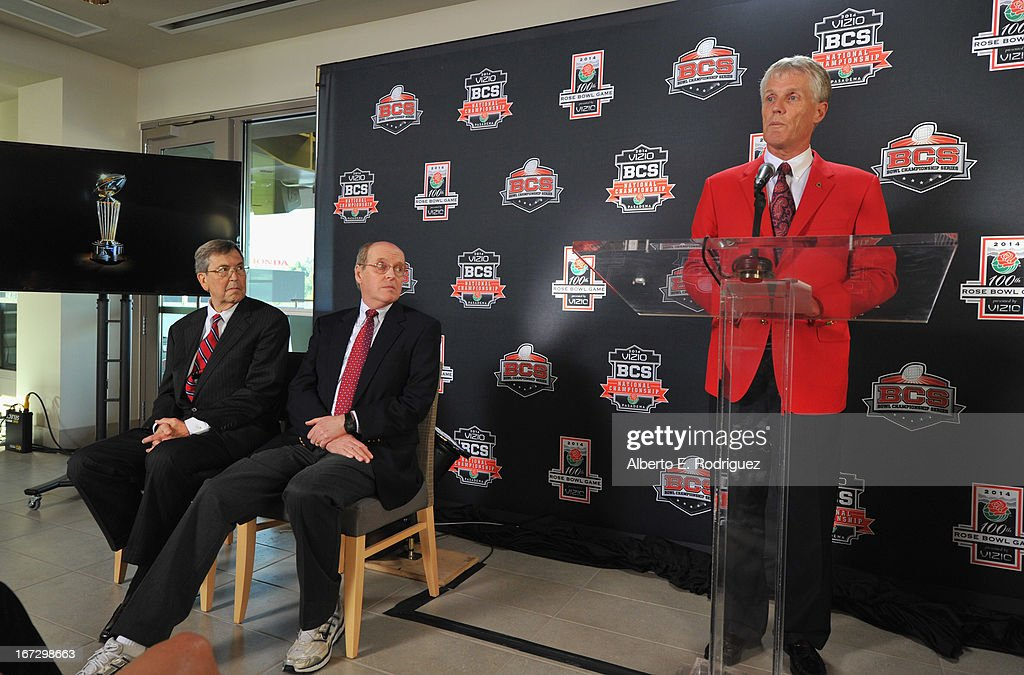 Bill Bogaard, Mayor of Pasadena, Bill Hancock, Executive Director, BCS and Scott Jenkins, President, Tournament of Roses attend the 100th Rose Bowl Game press conference at Rose Bowl on April 23, 2013 in Pasadena, California.