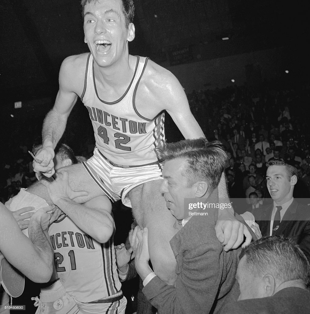Bill Bradley being Carried by Teammates After Princeton defeated NC State 66 48 in the semifinals of the East Region of the NCAA Basketball...