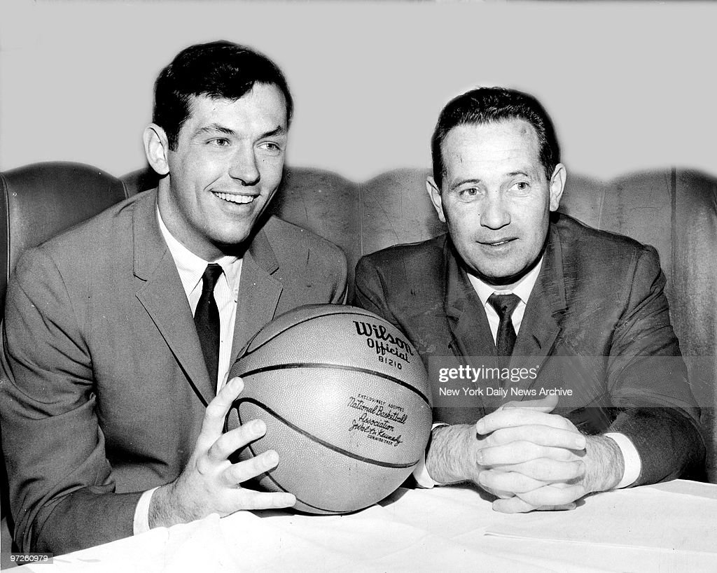 Bill Bradley [left] with N Y Knicks coach Dick McGuire at B