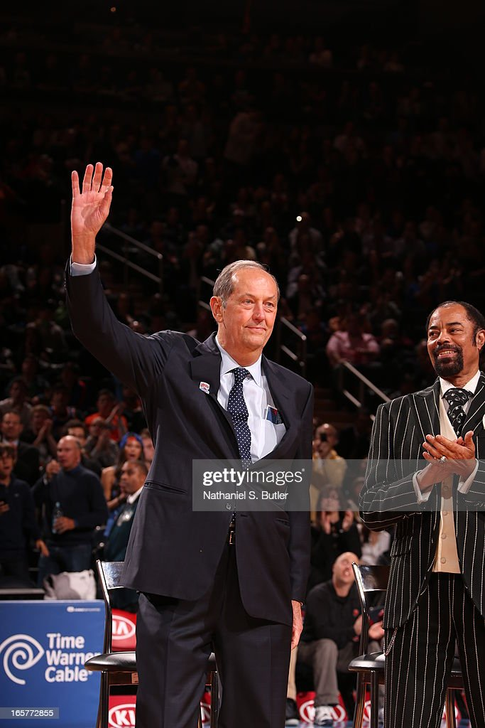 Bill Bradley of the 1972 - 1973 Championship New York Knicks team during a ceremony at halftime honoring the 40th anniversary of the team's victory in the NBA Finals on April 5, 2013 at Madison Square Garden in New York City.