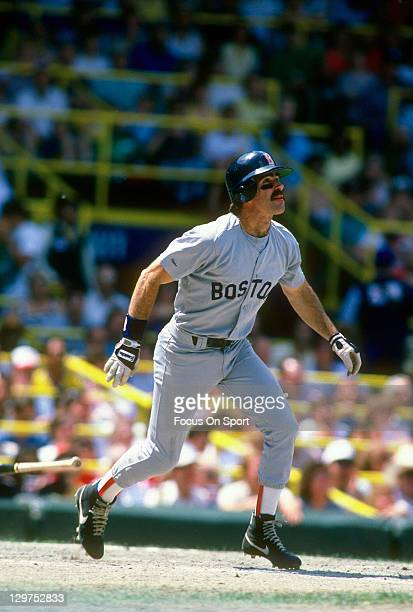 Bill Buckner of the Boston Red Sox bats against the Chicago White Sox during an Major League Baseball game circa 1987 at Cominskey Park in Chicago...