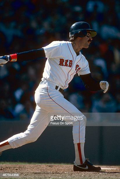 Bill Buckner of the Boston Red Sox bats during an Major League Baseball game circa 1986 at Fenway Park in Boston Massachusetts Buckner played for the...