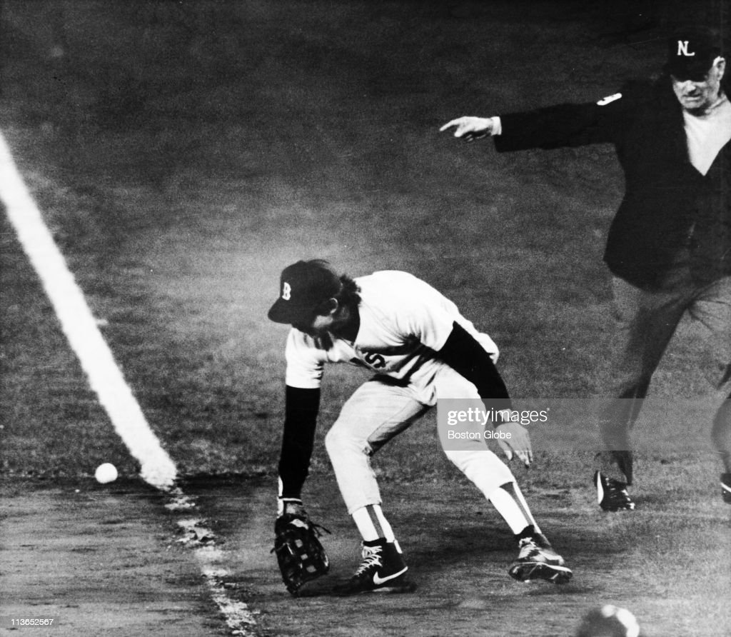 <a gi-track='captionPersonalityLinkClicked' href=/galleries/search?phrase=Bill+Buckner&family=editorial&specificpeople=234368 ng-click='$event.stopPropagation()'>Bill Buckner</a> of the Boston Red Sox made an error at the bottom of the 10 inning, in Game 6 of the 1986 World Series at Shea Stadium on October 25, 1986 in New York City. The error resulted in a 6-5 10th inning win for the Mets.