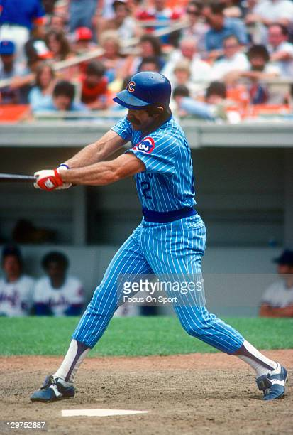 Bill Buckner of the Chicago Cubs bats against the New York Mets during an Major League Baseball game circa 1981 at Shea Stadium in the Queens borough...