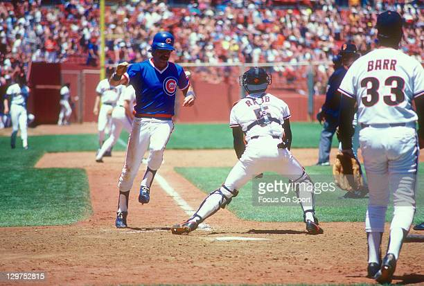 Bill Buckner of the Chicago Cubs scores against the San Francisco Giants during an Major League Baseball game circa 1983 at Candlestick Park in San...