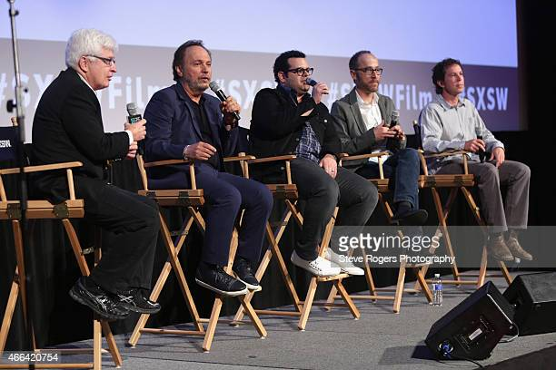 Bill Carter Billy Crystal Josh Gad Ben Wexler and Matt Nix speak onstage at the premiere of 'The Comedians' during the 2015 SXSW Music Film...