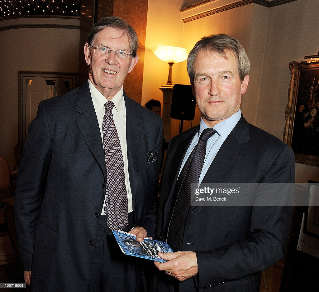 Bill Cash (L) and Environment Secretary, Owen Paterson MP, attend the Maastricht Rebellion 20th Anniversary dinner at The Landsdowne Club on November 19, 2012 in London, England.