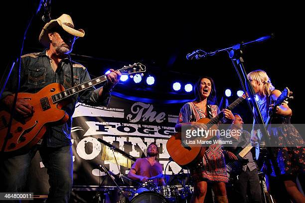 Bill Chambers and Kasey Chambers perform with Foggy Mountain Jam at the Longyard Hotel during the 42nd Tamworth Coutry Music Festival on January 23...