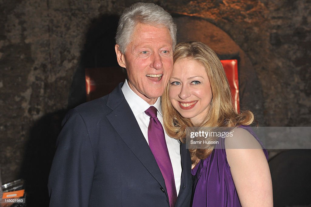 <a gi-track='captionPersonalityLinkClicked' href=/galleries/search?phrase=Bill+Clinton&family=editorial&specificpeople=67203 ng-click='$event.stopPropagation()'>Bill Clinton</a> and <a gi-track='captionPersonalityLinkClicked' href=/galleries/search?phrase=Chelsea+Clinton&family=editorial&specificpeople=119698 ng-click='$event.stopPropagation()'>Chelsea Clinton</a> arrive at 'A Night Out With The Millennium Network,' at the Old Vic Tunnels, presented by The Clinton Foundation and The Reuben Foundation. The evening, hosted by <a gi-track='captionPersonalityLinkClicked' href=/galleries/search?phrase=Bill+Clinton&family=editorial&specificpeople=67203 ng-click='$event.stopPropagation()'>Bill Clinton</a>, <a gi-track='captionPersonalityLinkClicked' href=/galleries/search?phrase=Chelsea+Clinton&family=editorial&specificpeople=119698 ng-click='$event.stopPropagation()'>Chelsea Clinton</a>, Gwyneth Paltrow and Will i Am took place on the 22nd May 2012 in London, England.