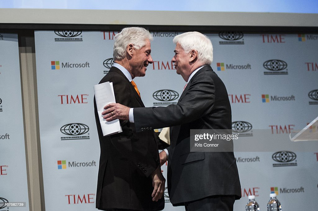 <a gi-track='captionPersonalityLinkClicked' href=/galleries/search?phrase=Bill+Clinton&family=editorial&specificpeople=67203 ng-click='$event.stopPropagation()'>Bill Clinton</a> and Chris Dodd greet each other during the Creativity Conference at the Corcoran Gallery of Art on April 26, 2013 in Washington, DC.