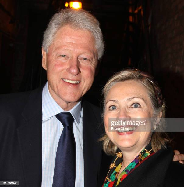 Bill Clinton and Hillary Clinton pose backstage at '39 Steps' on Broadway at The Helen Hayes Theater on November 28 2009 in New York City