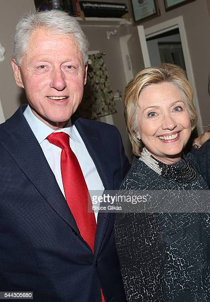 Bill Clinton and Hillary Clinton pose backstage at the hit musical 'Hamilton' on Broadway at The Richard Rogers Theatre on July 2 2016 in New York...