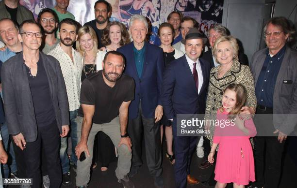 Bill Clinton and Hillary Clinton pose backstage with the cast and creative team at the Tony Award Winning Best Play 'Oslo' on Broadway at The Vivian...