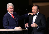 Bill Clinton and Kevin Spacey speak on stage at The 2014 Revlon Concert For The Rainforest Fund at Carnegie Hall on April 17 2014 in New York City