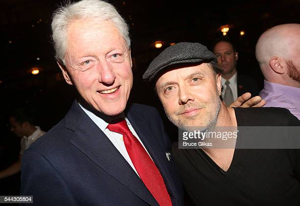 Bill Clinton and Metallica's Lars Ulrich pose backstage at the hit musical 'Hamilton' on Broadway at The Richard Rogers Theatre on July 2 2016 in New...