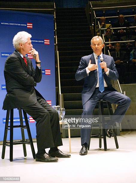 Bill Clinton and Tony Blair attend the 2010 Liberty Medal Ceremony at the National Constitution Center on September 13 2010 in Philadelphia...