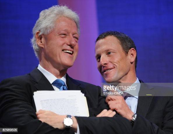 Bill Clinton former President of the US and Lance Armstrong Founder and Chairman of the BoardLance Armstrong Foundation at the Clinton Global...