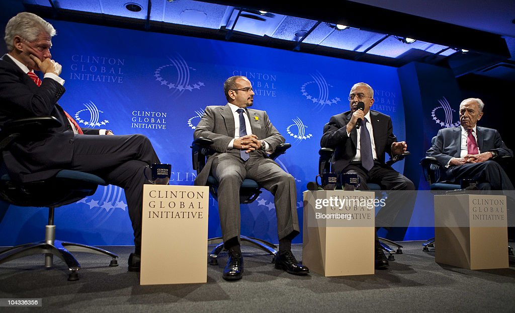 Bill Clinton, former U.S. president, left, moderates a panel discussion on the Middle East with Salman Bin Hamad al Khalifa, crown prince and chairman of the Economic Development Board of Bahrain, from left, Salam Fayyad, prime minister of the Palestinian Authority, and Shimon Peres, president of Israel, during the Clinton Global Initiative annual meeting in New York, U.S., on Tuesday, Sept. 21, 2010. Clinton said today he has collected 246 pledges for more than $2.5 billion to alleviate poverty in the developing world and help women and girls.Photographer: Ramin Talaie/Bloomberg via Getty Images