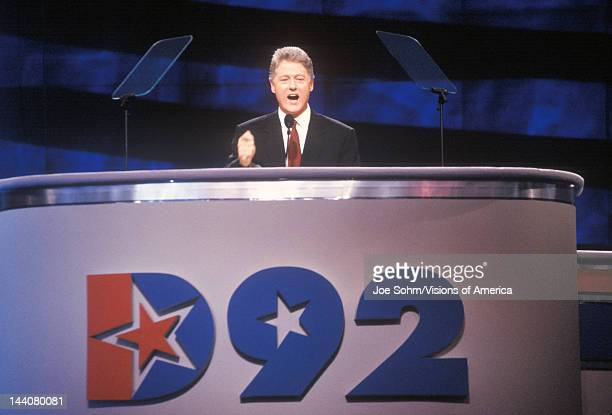 Bill Clinton gives his nomination speech at the Presidential celebration of the 1992 Democratic Convention in Madison Square Garden Manhattan New York