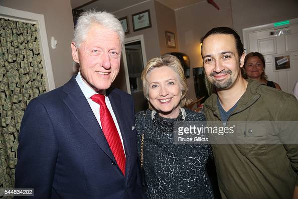 Bill Clinton Hillary Clinton and Lin Manuel Miranda pose backstage at the hit musical 'Hamilton' on Broadway at The Richard Rogers Theatre on July 2...