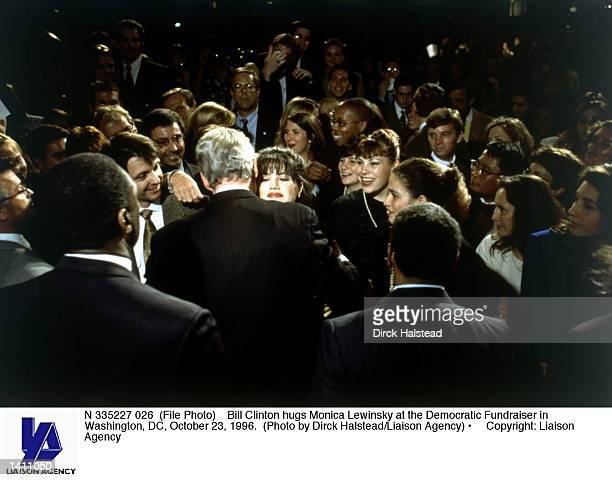 Bill Clinton hugs Monica Lewinsky at the Democratic Fundraiser in Washington DC October 23 1996