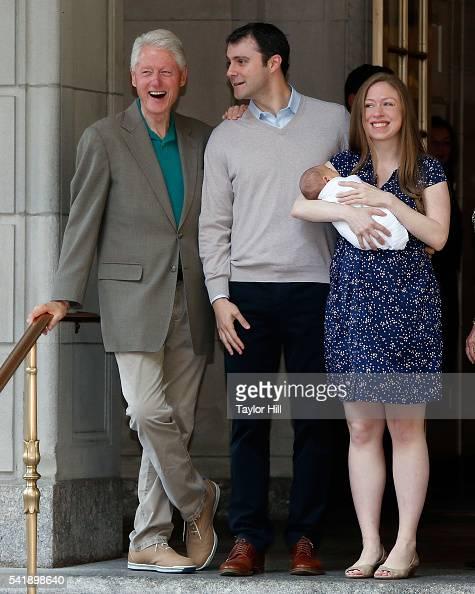 Bill Clinton Marc Mezvinsky Aidan Clinton Mezvinsky and Chelsea Clinton depart Lenox Hill Hospital on June 20 2016 in New York City