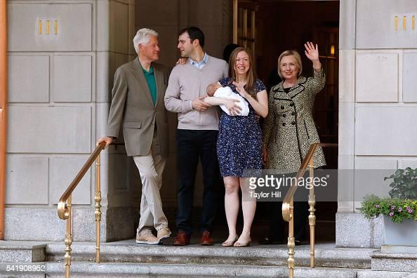 Bill Clinton Marc Mezvinsky Aidan Clinton Mezvinsky Chelsea Clinton and Hillary Clinton depart Lenox Hill Hospital on June 20 2016 in New York City