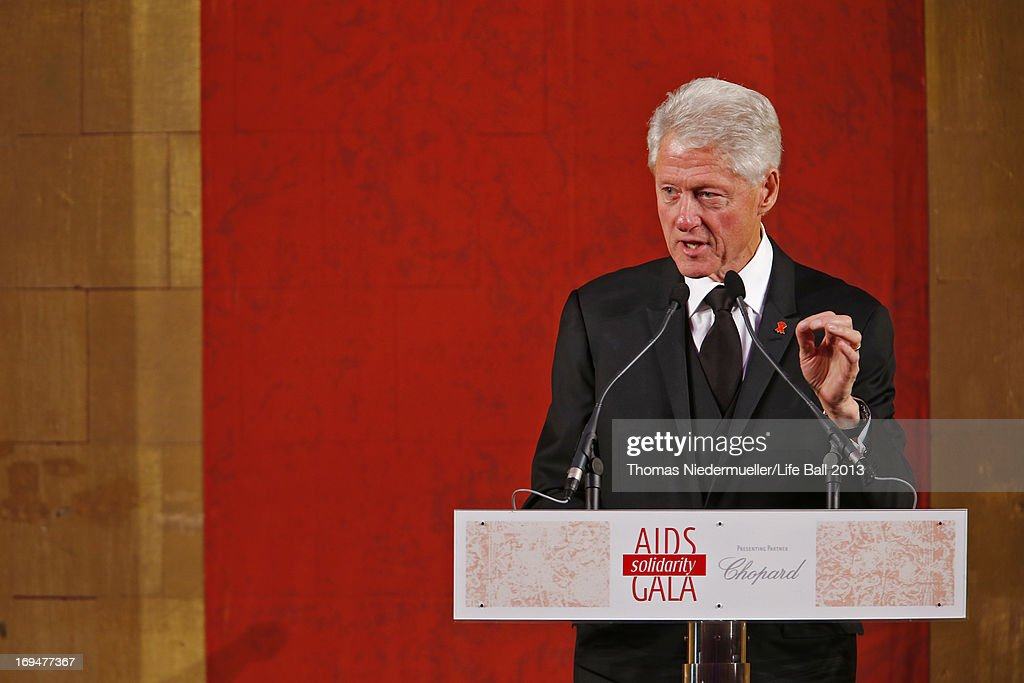 <a gi-track='captionPersonalityLinkClicked' href=/galleries/search?phrase=Bill+Clinton&family=editorial&specificpeople=67203 ng-click='$event.stopPropagation()'>Bill Clinton</a> speaks at the 'AIDS Solidarity Gala 2013' at Hofburg Vienna on May 25, 2013 in Vienna, Austria.