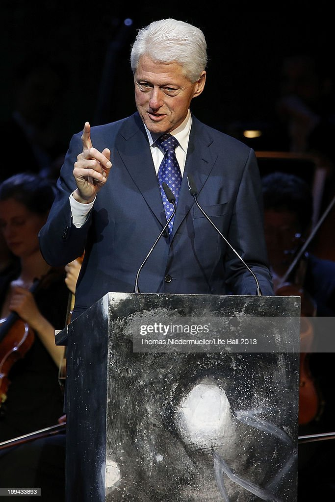 <a gi-track='captionPersonalityLinkClicked' href=/galleries/search?phrase=Bill+Clinton&family=editorial&specificpeople=67203 ng-click='$event.stopPropagation()'>Bill Clinton</a> speaks at the 'Red Ribbon Celebration Concert - United in Difference' at Burgtheater on May 24, 2013 in Vienna, Austria.