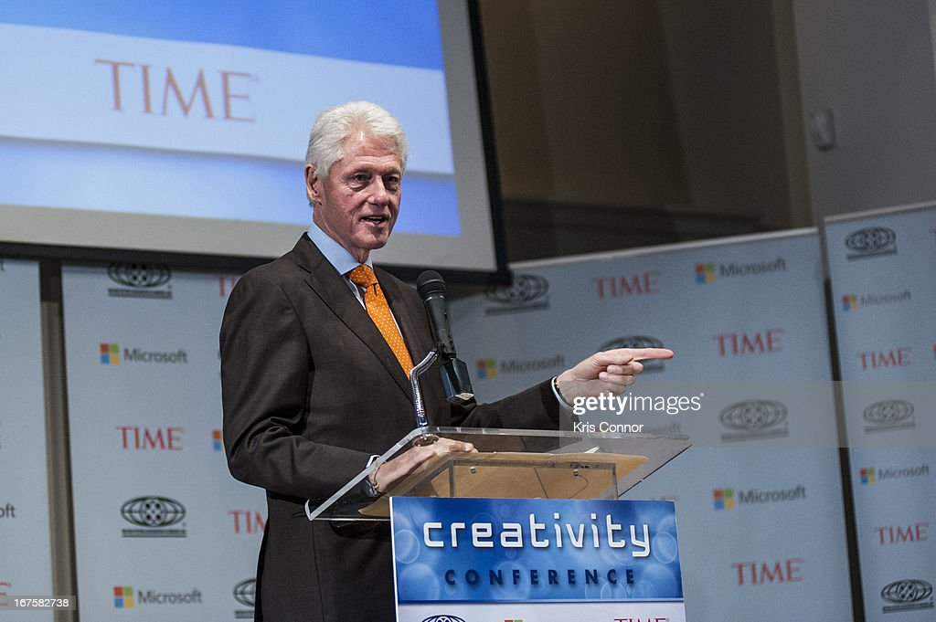<a gi-track='captionPersonalityLinkClicked' href=/galleries/search?phrase=Bill+Clinton&family=editorial&specificpeople=67203 ng-click='$event.stopPropagation()'>Bill Clinton</a> speaks during the Creativity Conference at the Corcoran Gallery of Art on April 26, 2013 in Washington, DC.