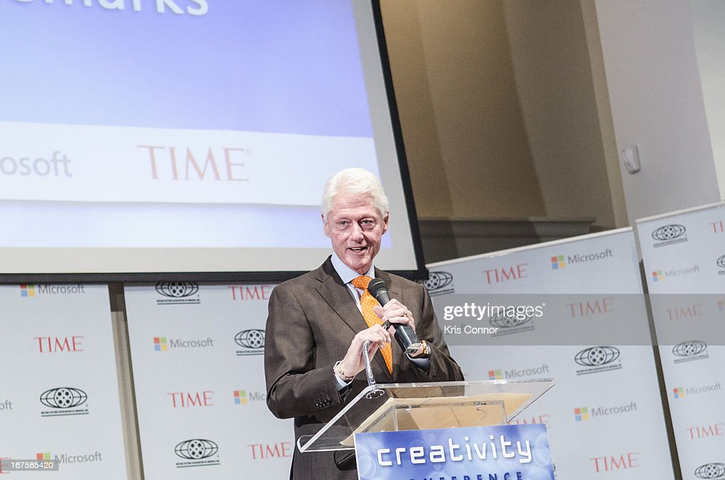 <a gi-track='captionPersonalityLinkClicked' href=/galleries/search?phrase=Bill+Clinton&family=editorial&specificpeople=67203 ng-click='$event.stopPropagation()'>Bill Clinton</a> speaks during the Creativity Conference atn the Corcoran Gallery of Art on April 26, 2013 in Washington, DC.