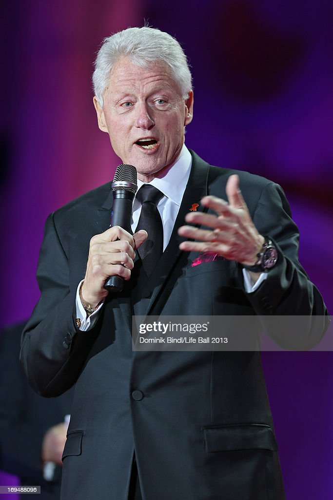 <a gi-track='captionPersonalityLinkClicked' href=/galleries/search?phrase=Bill+Clinton&family=editorial&specificpeople=67203 ng-click='$event.stopPropagation()'>Bill Clinton</a> speaks during the 'Life Ball 2013 - Show' at City Hall on May 25, 2013 in Vienna, Austria.