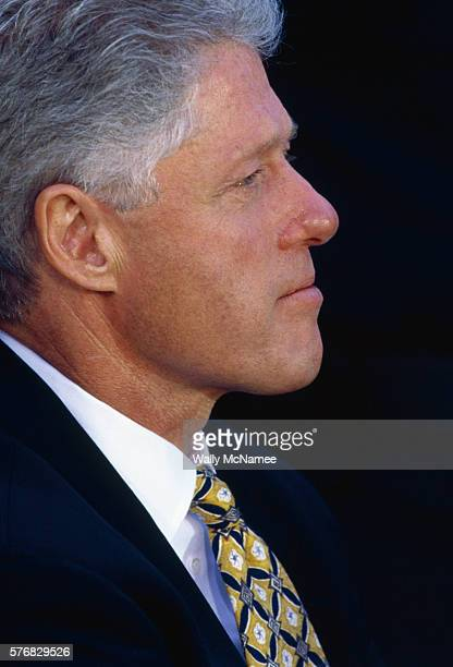 Bill Clinton wears a tie given to him by Monica Lewinsky the white house intern with whom he had an affair at a Rose Garden event about gun control...