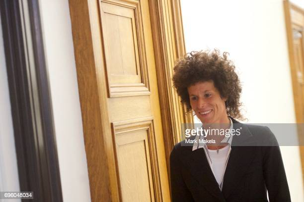 Bill Cosby accuser Andrea Constand exits the courtroom on the third day of jury deliberations in Cosby's sexual assault trial at the Montgomery...