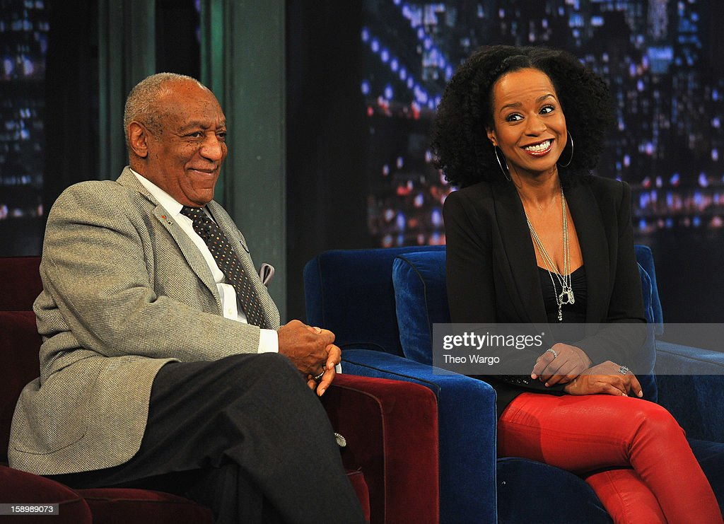 Bill Cosby and Tempestt Bledsoe visit 'Late Night With Jimmy Fallon' at Rockefeller Center on January 4, 2013 in New York City.